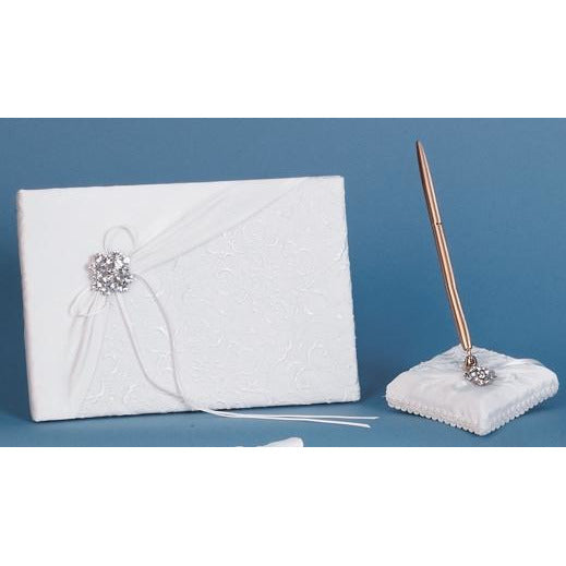 Embroidered Brooch Wedding Guestbook and Pen Set