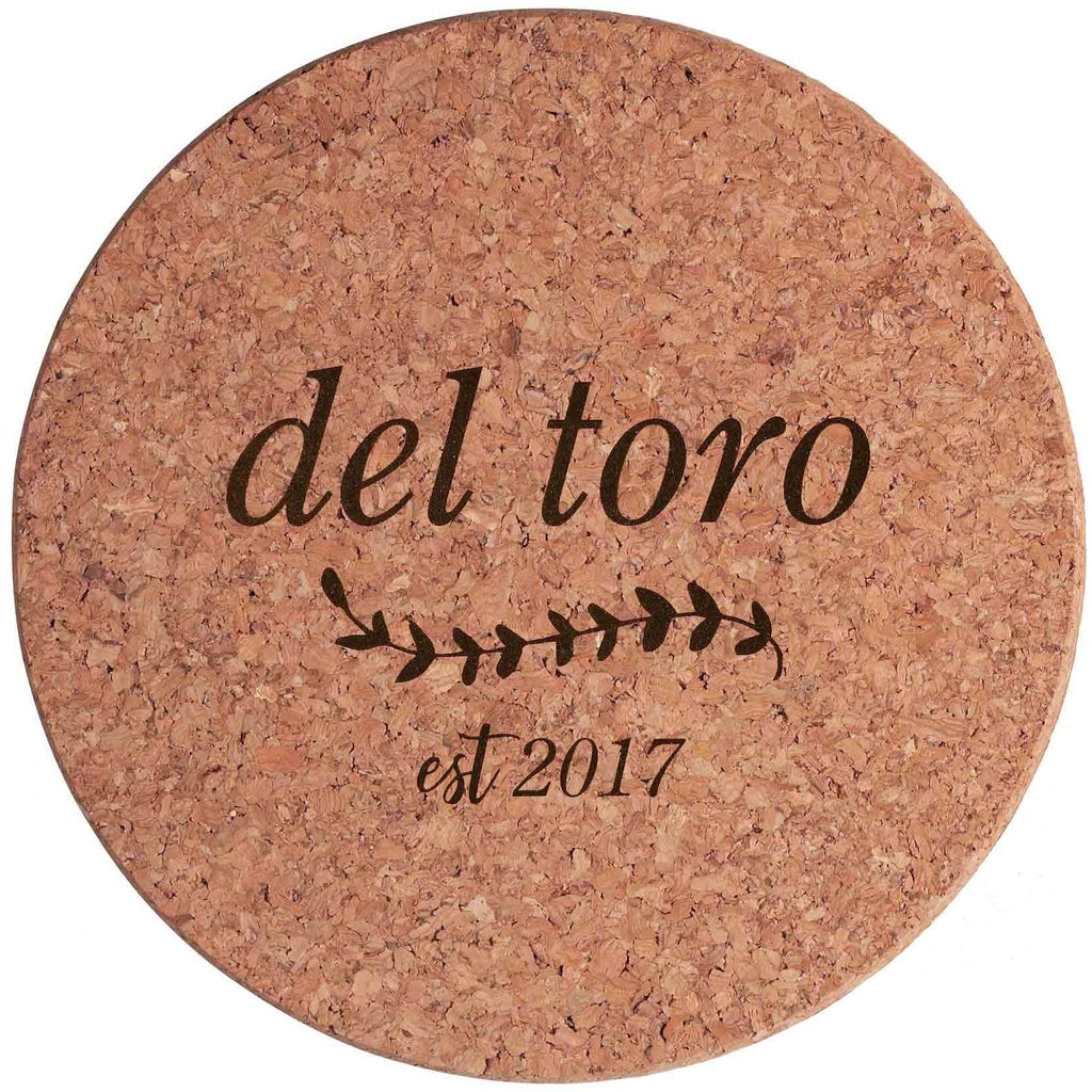 Custom Engraved Rustic Cork Trivet Hot Pad - 7 inch- Personalized trivet, hostess gift, shower favor, engraved hot pad, stocking stuffer