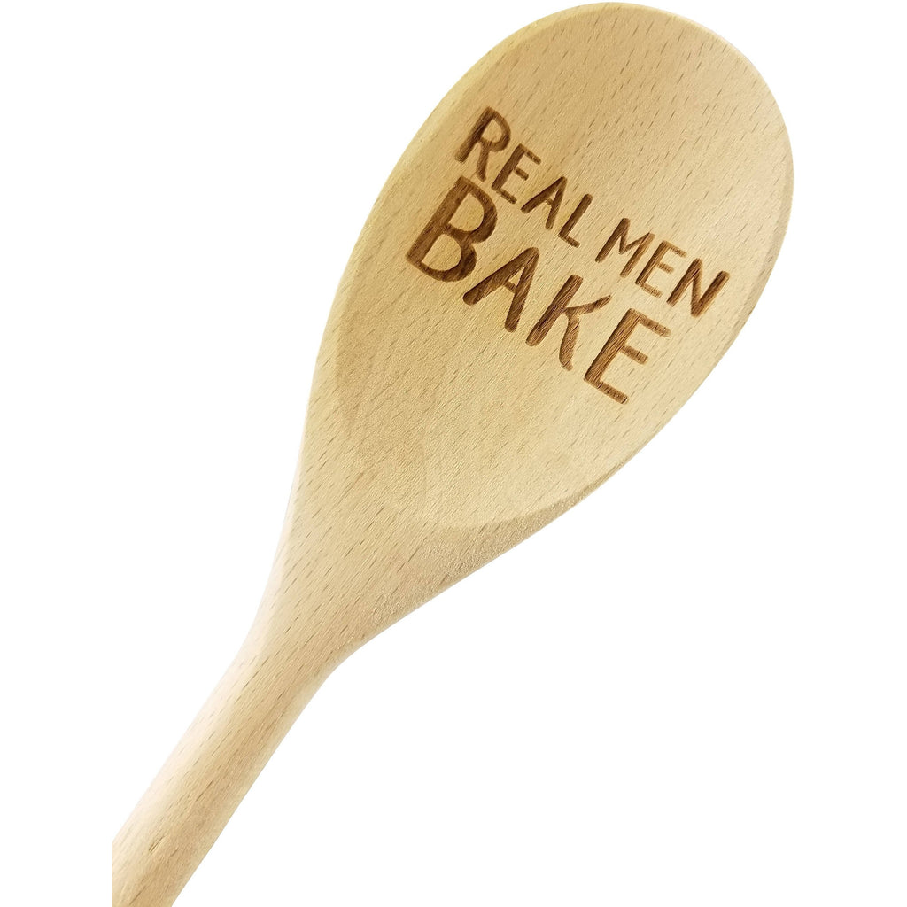 Engraved Real Men Bake Wood Spoon Gift - 14 inch- host gift, birthday gift, engraved spoon, stocking stuffer