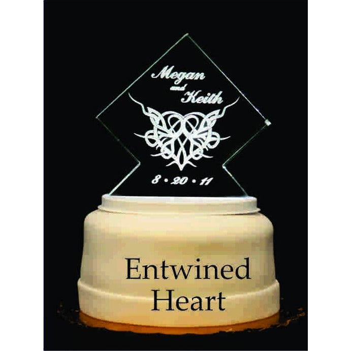 Entwined Heart Light-Up Wedding Cake Topper