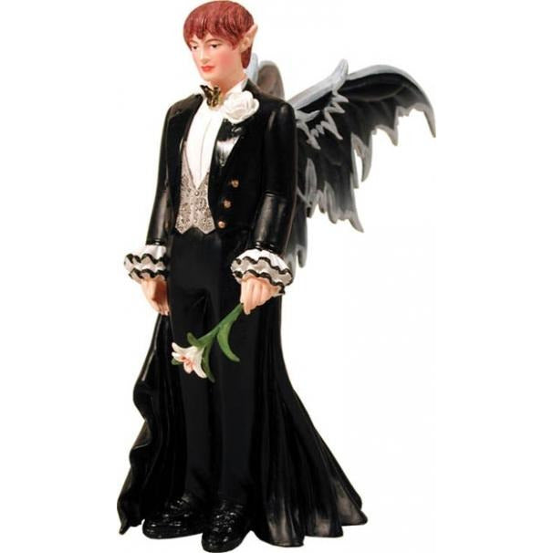 Fantasy Couture Red Hair Fairy Groom Wedding Cake Topper