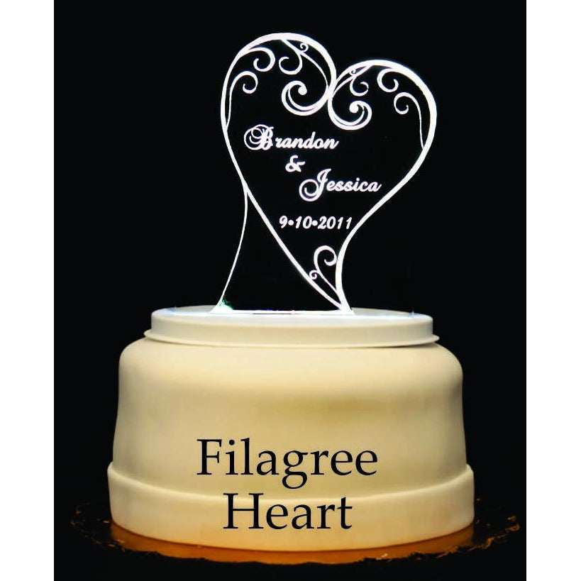 Filagree Heart Light-Up Wedding Cake Topper