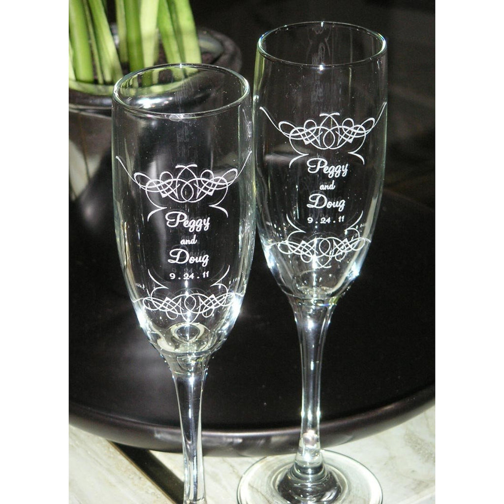 Filagree Toasting Wedding Champagne Glass Flutes (Pair)