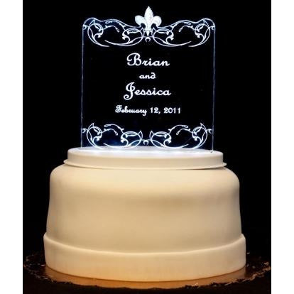 Fleur de lis Light-Up Wedding Cake Topper
