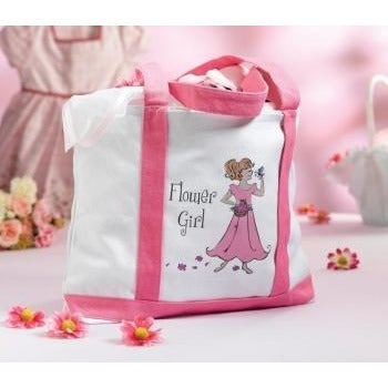 Floral Girl Large Canvas Tote
