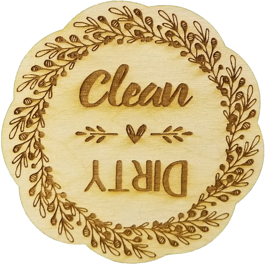 Rustic Wreath Wood Dishwasher Magnet | Clean Dirty 3 Inch Round Magnet | Boho Stylish Rustic Shabby Chic Design | Kitchen Magnet for Home Decor, Gift for Men & Women, or Party Favors
