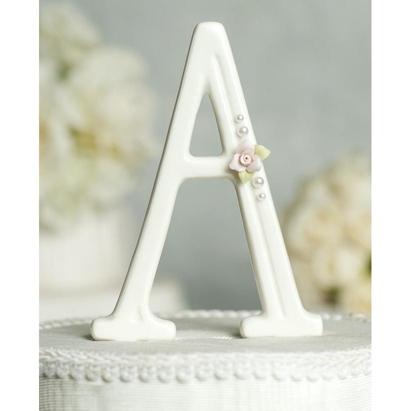 Flower and Pearl Accented Porcelain Monogram Cake Topper