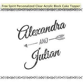 Free Spirit Personalized Clear Acrylic Block Cake Topper