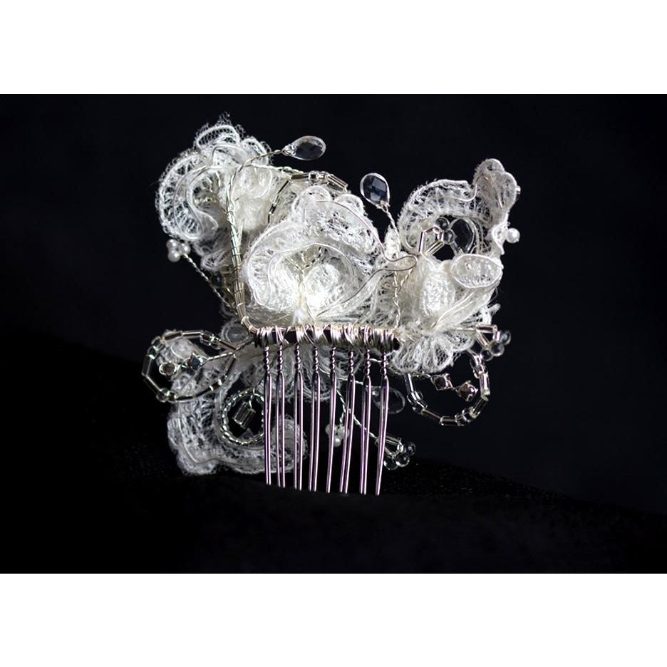 French Applique and Crystals Comb