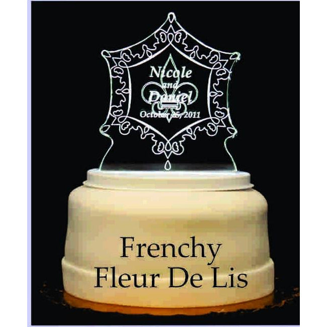 Frenchy Fleur de lis Light-Up Wedding Cake Topper