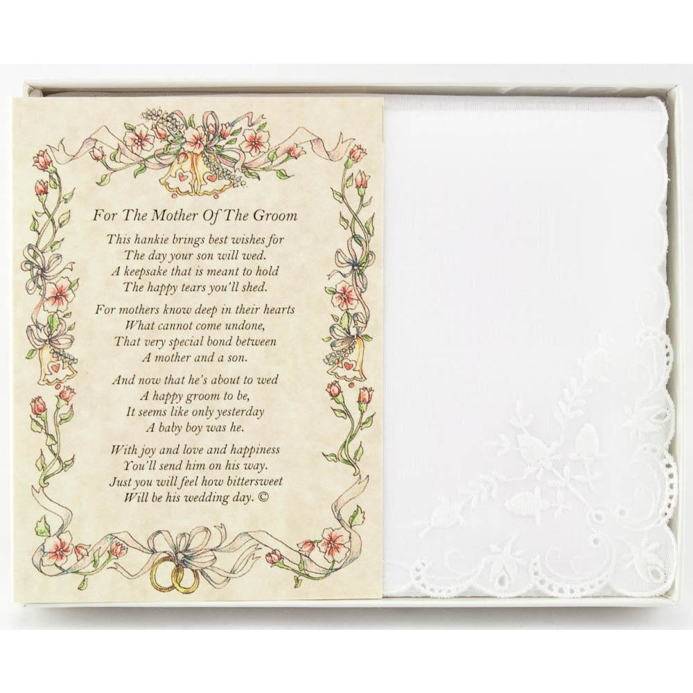 Personalized From Friend or Family to the Mother of the Groom Wedding Handkerchief