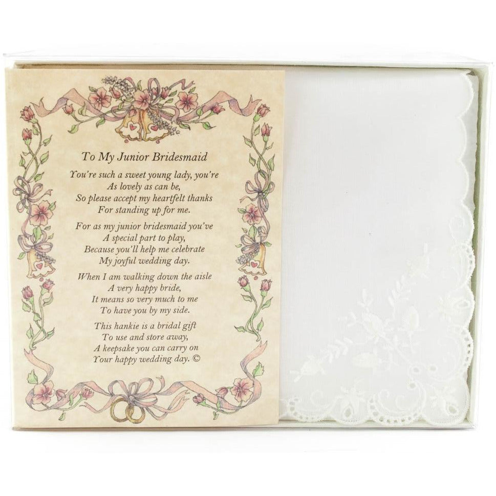 Personalized From The Bride to her Junior Bridesmaid Wedding Handkerchief