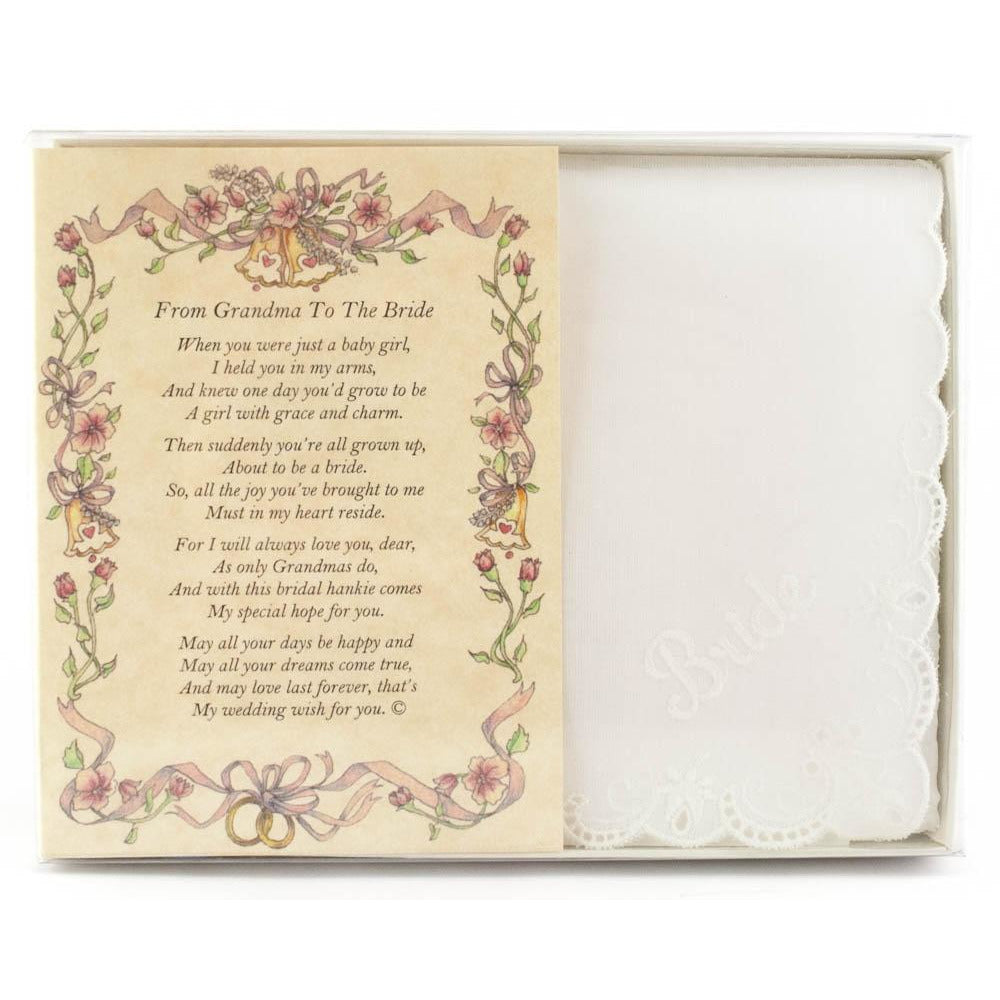 Personalized From Grandma to the Bride Wedding Handkerchief