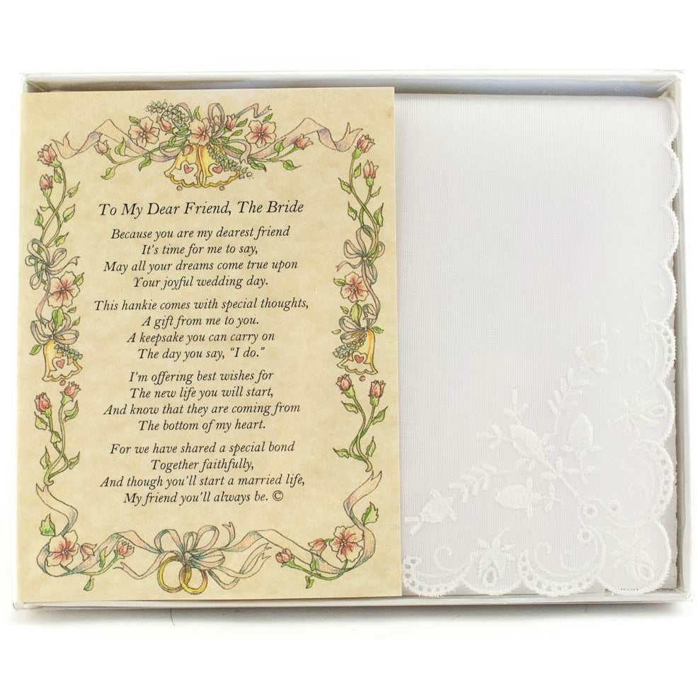 Personalized From a Friend to the Bride Wedding Handkerchief