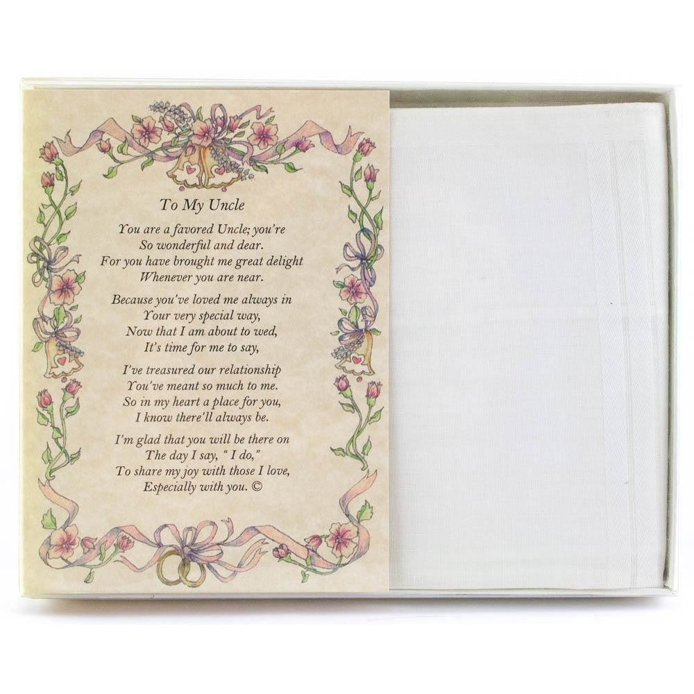 Personalized From the Bride to her Uncle Wedding Handkerchief