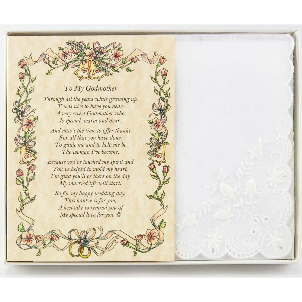Personalized From the Bride to her Godmother Wedding Handkerchief