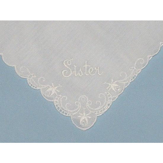 Personalized From the Bride to her Sister Wedding Handkerchief