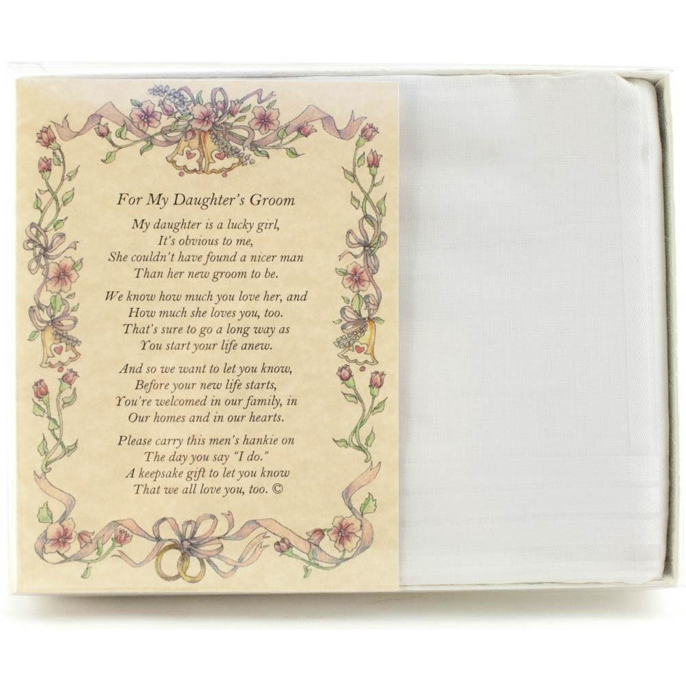 Personalized From the Bride's Parent to the Groom Poetry Wedding Handkerchief
