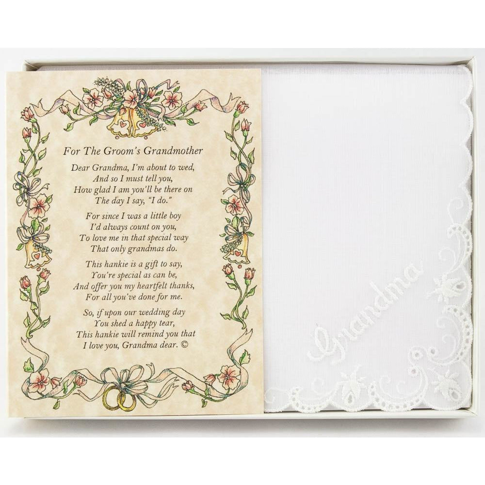 Personalized From the Groom to his Grandmother Wedding Handkerchief