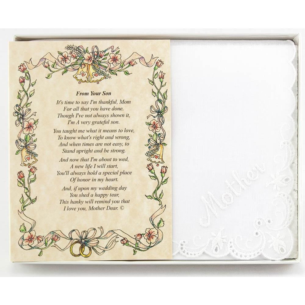 Personalized From the Groom to his Mother Wedding Handkerchief