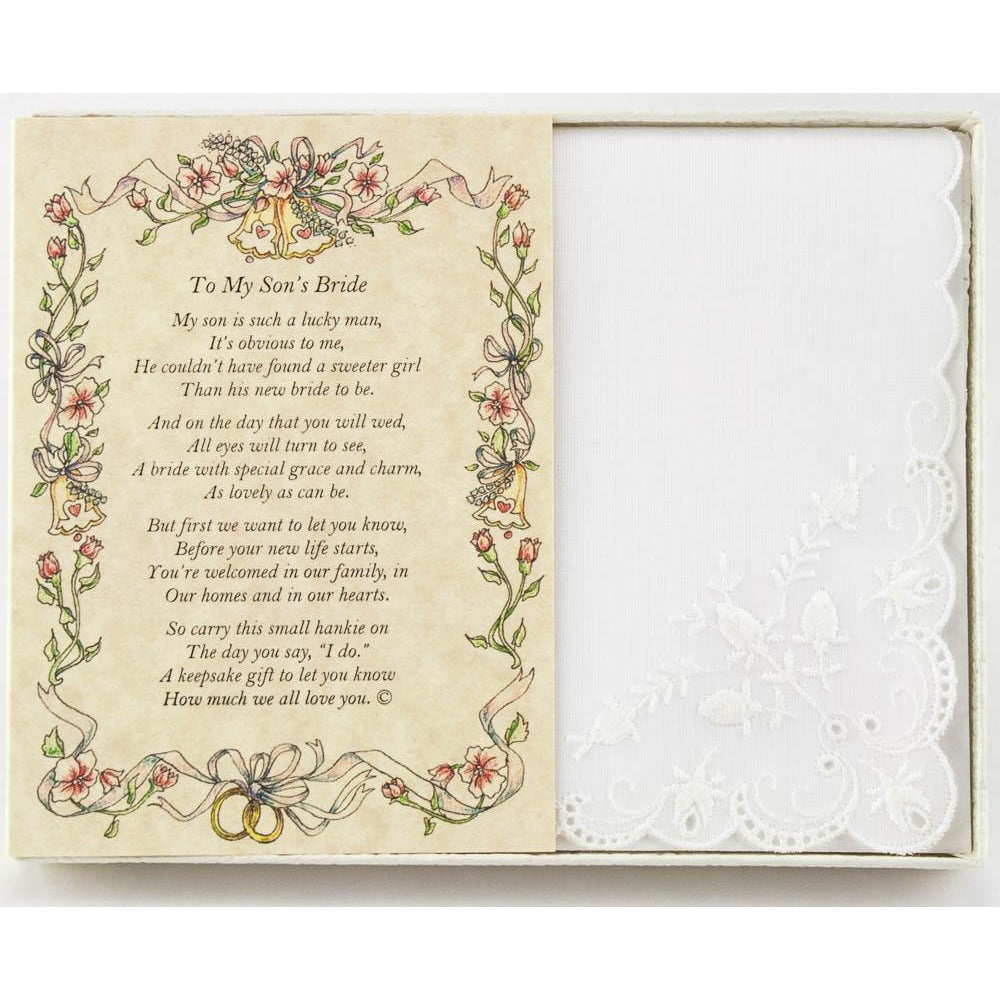 Personalized From the Groom's Mother to the Bride Wedding Handkerchief