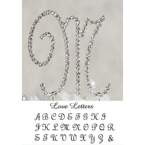 Full Crystal Monogram Wedding Cake topper with Silver Initial and Swarovski Crystals