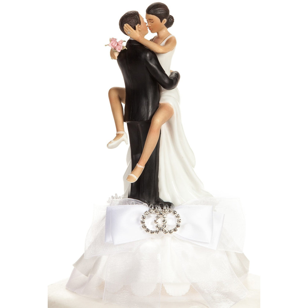 Funny Sexy Rhinestone African American Wedding Rings Cake Topper