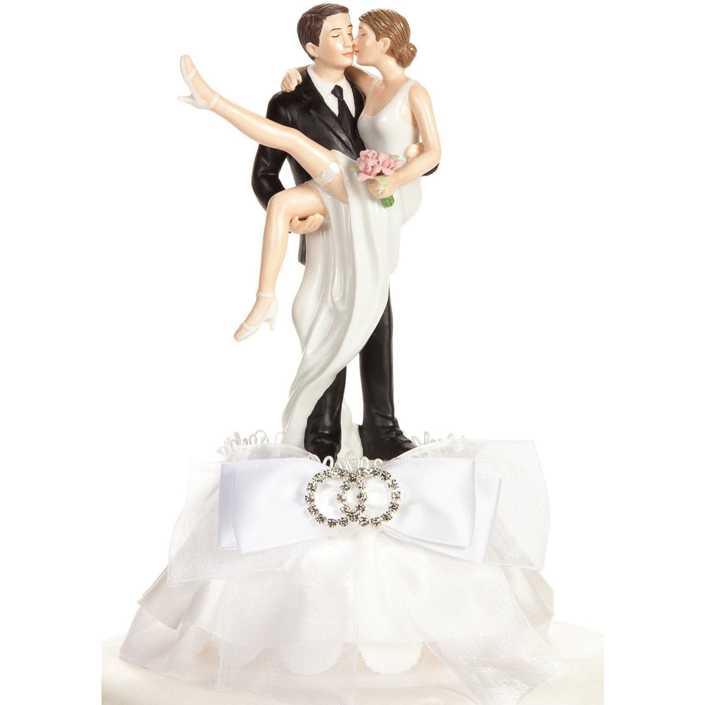 Funny Sexy Rhinestone Over the Threshold Wedding Rings Cake Topper
