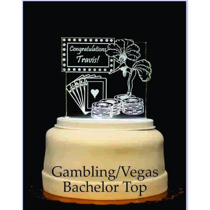 Gambling/Vegas Bachelor Light-Up Wedding Cake Topper