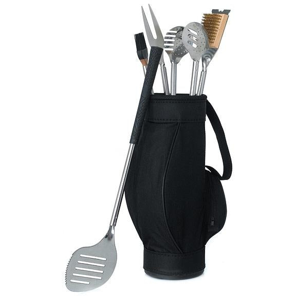 Gift 5 Piece BBQ Tools in Black Golf Bag and Golf Grips