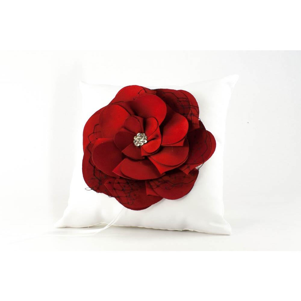 Red and Black Rose Wedding Ring Bearer Pillow