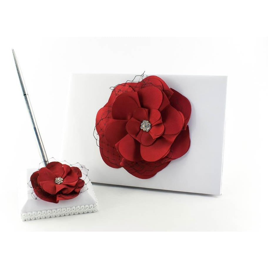 Red and Black Rose Wedding Guestbook and Pen Set