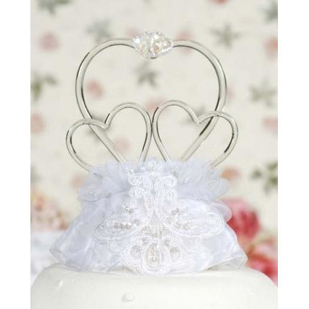 Glass Hearts Vintage Applique Cake Topper