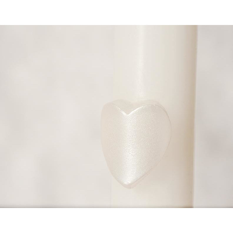 Carved Pearlized Heart Tapers (Set of 2)