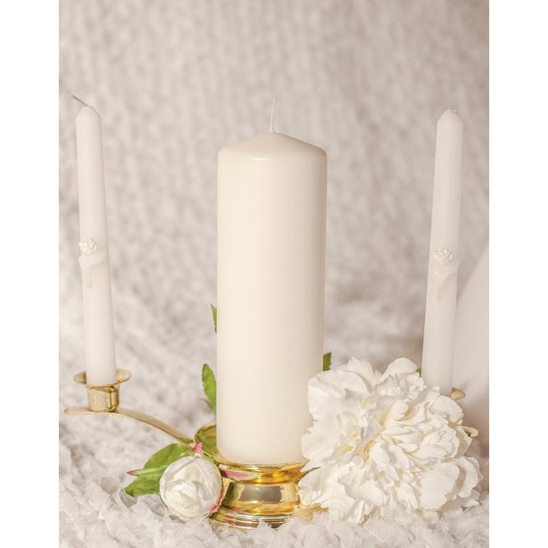 Glitter Rose Wedding Candle Tapers (Set of 2)
