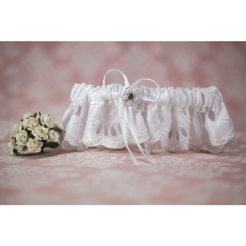 White Applique Wedding Garter