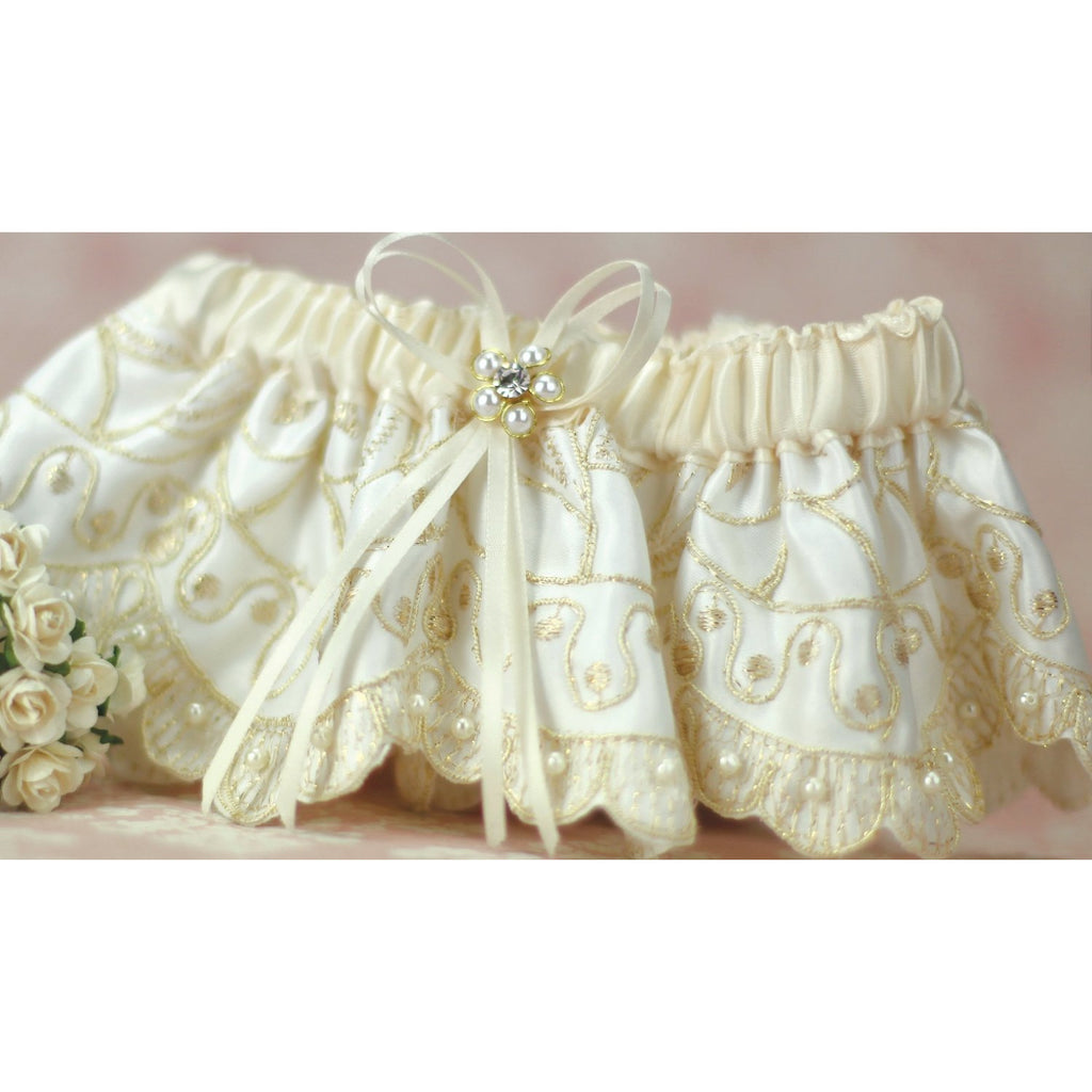 Golden Embroidery Wedding Garter