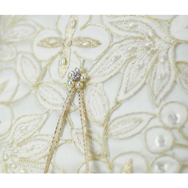 Golden Embroidery Wedding Ring Bearer Pillow