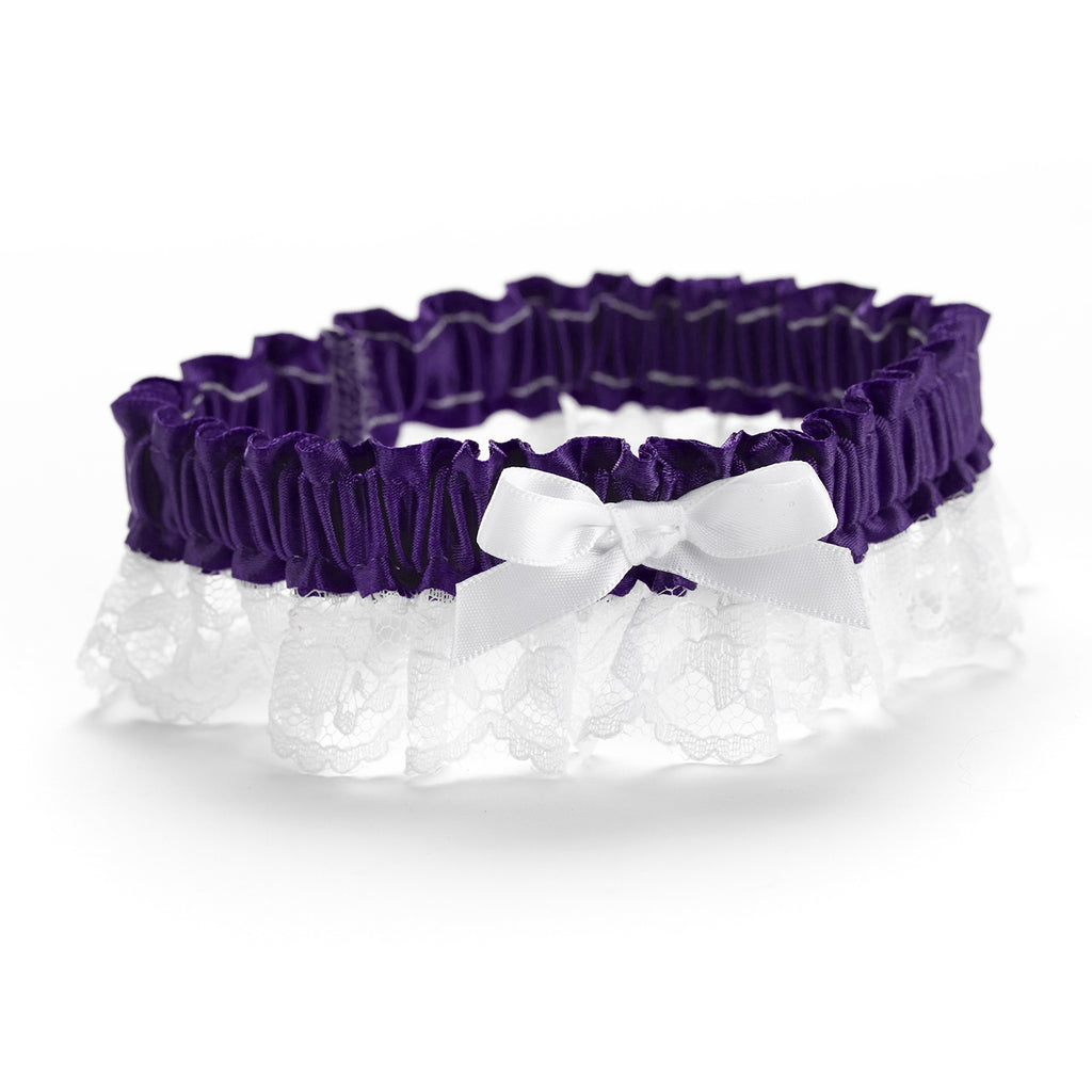 Grape Ribbon & Lace Garter