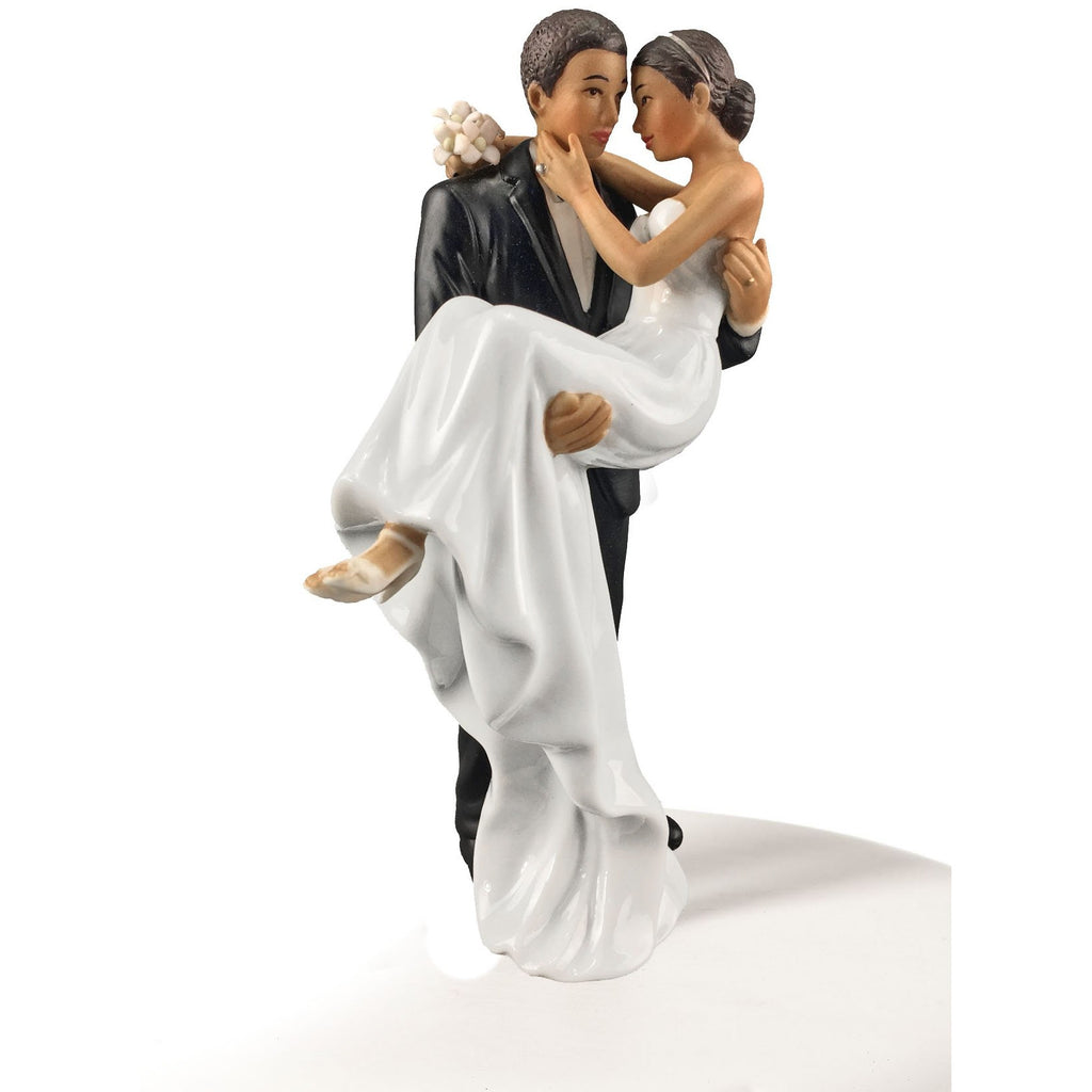 African American Groom Holding Bride Traditional Cake Topper Figurine