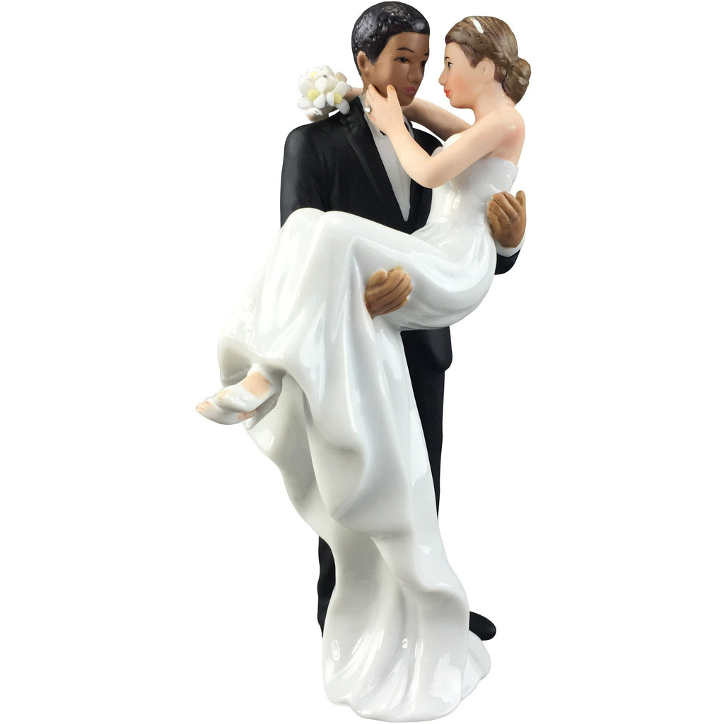 African American Groom Holding Caucasian Bride Interracial Cake Topper Figurine