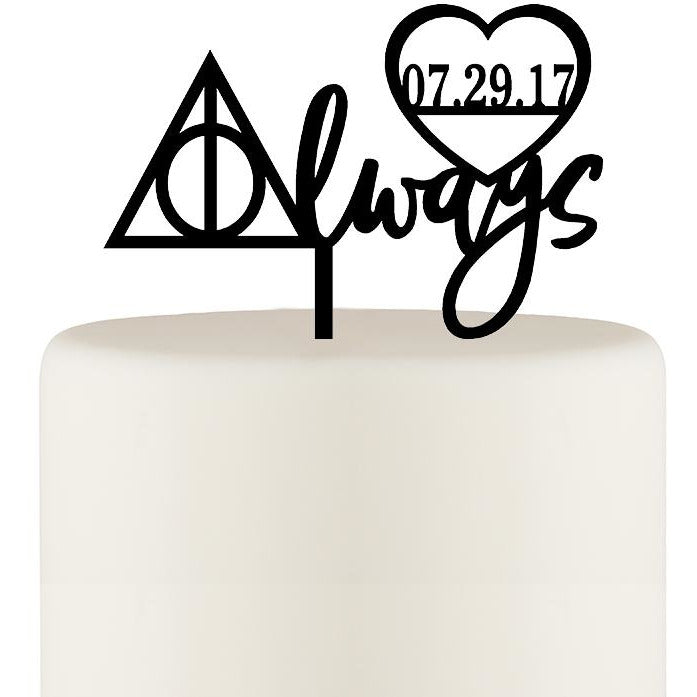 Harry Potter Inspired Cake Topper - Always Cake Topper with Wedding Date