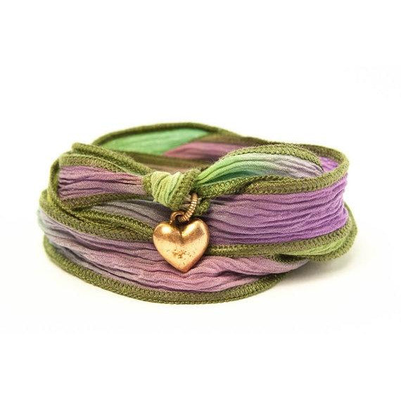 Heart Bracelet, Silk Wrap Jewelry