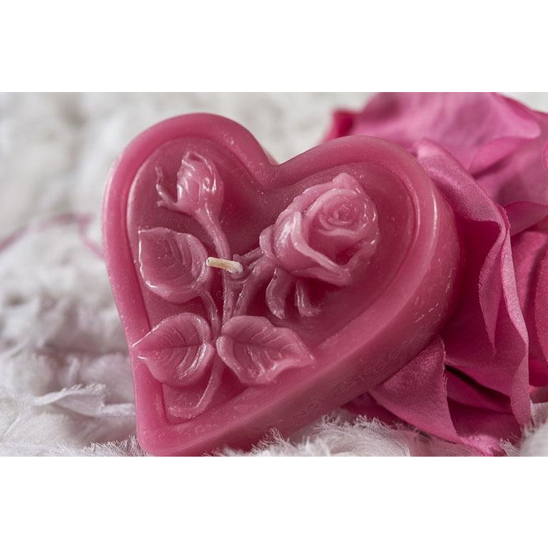 Heart Candle with Rose Detail