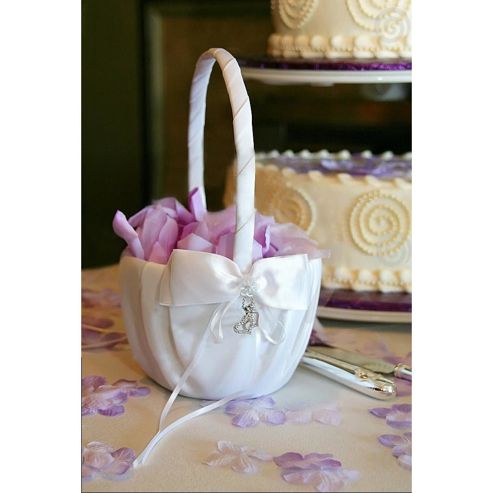 Heart Charm Wedding Flowergirl Basket