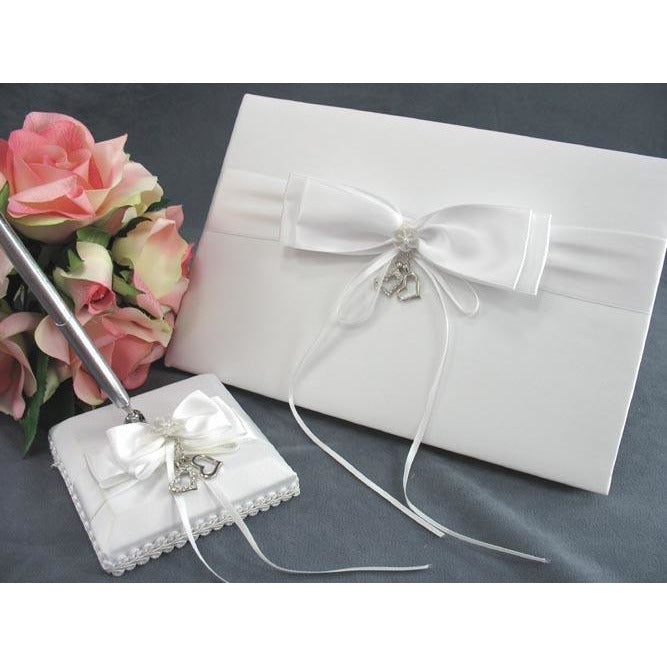 Heart Charm Wedding Guestbook and Pen Set