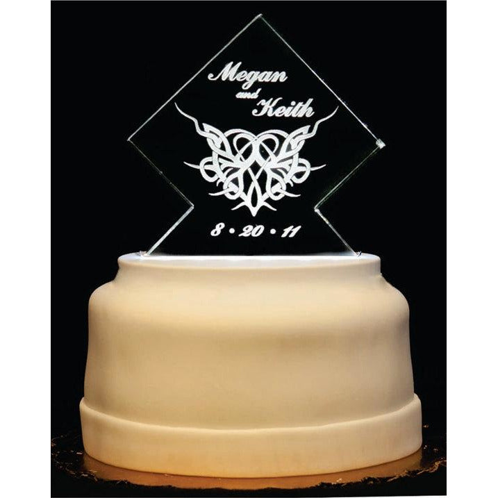 Heart Gothic Thorny Light-Up Wedding Cake Topper