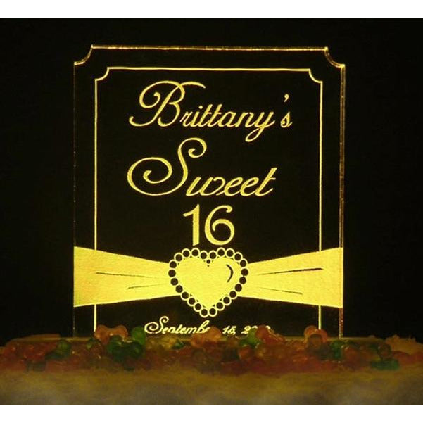 Heart Ribbon Sweet 16 Light-Up Caketopper