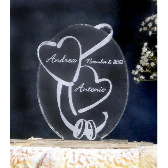 Hearts & Rings Oval Light-Up Wedding Cake Topper