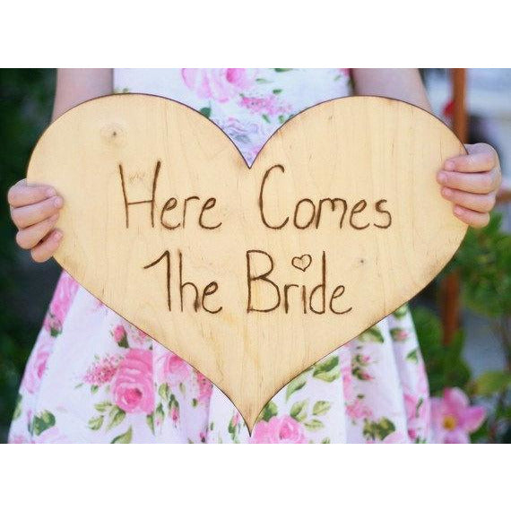 Here Comes The Bride Sign Rustic Country Flower Girl or Ring Bearer Sign